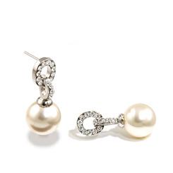 Pearl and diamante wedding earrings
