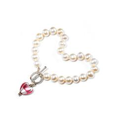 Trini flower girls heart charm pearl bracelet