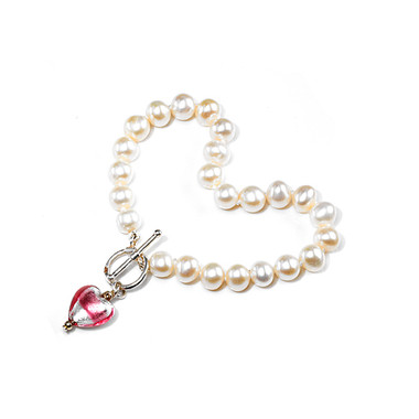 Trini flower girls heart charm pearl bracelet