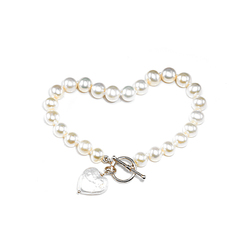 Flower Girls pearl heart charm bracelet