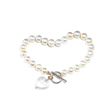 Flower Girls pearl heart charm bracelet