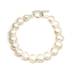 12mm cream baroque pearl bracelet with silver clasp lovely for wedding jewellery