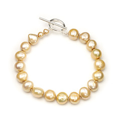 Sofia champagne coloured baroque 12mm size pearl bracelet