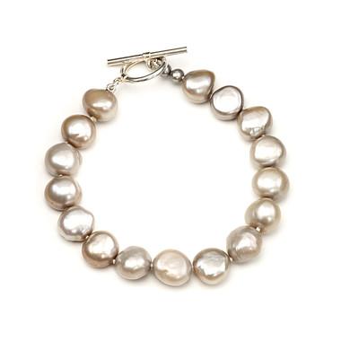 Sofia baroque 12mm silver grey pearl bracelet