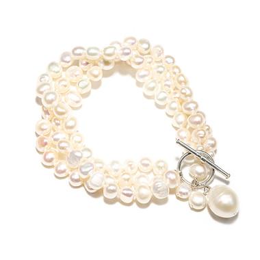 Cream multi-strand baroque pearl bracelet