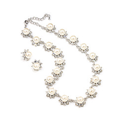 Sarita pearl and diamante bridal necklace set