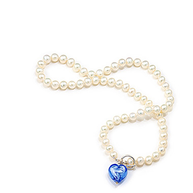 Murano glass heart and freshwater pearl necklace ideal as bridesmaids jewellery