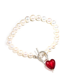 Murano heart charm and pearl bracelet ideal for bridesmaids or girls birthday gift