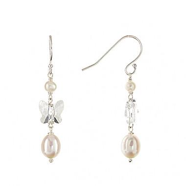 Luisa butterfly crystal and pearl drop bridal earrings