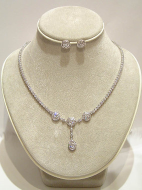 Gracia cz and diamante wedding necklace set