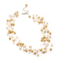 Floating cream and gold pearl necklace lovely for bridal