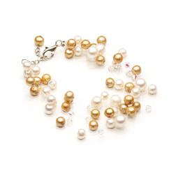 Phoebe cream and gold floating pearl bracelet