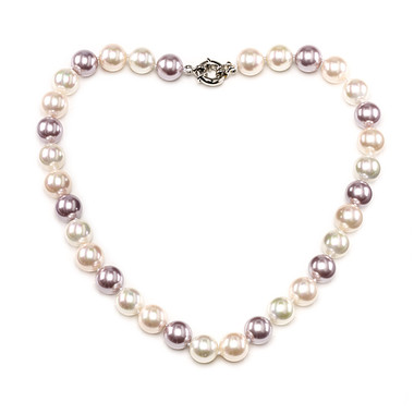 Camilla Mother of Pearl cream, mauve and peach 16mm size pearl necklace