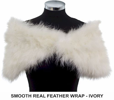Antonia ivory real marabou feather ladies wrap