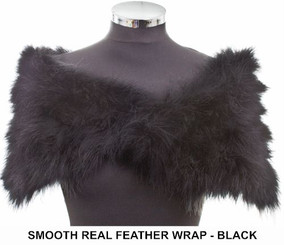 Anita black marabou feather bridesmaids wrap