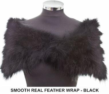 Anita black marabou feather bridesmaids wrap