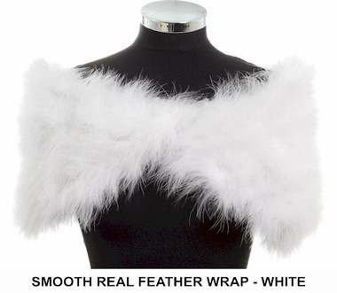 Angela marabou real feather white ladies wrap