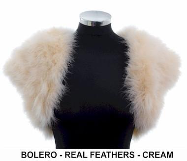 Real feather cream bolero
