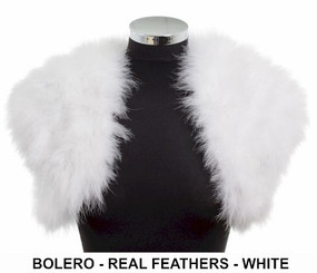 White real feather bolero