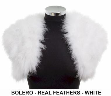White real feather bolero