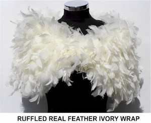 Julia cream ruffle feather wrap