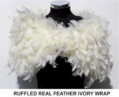 Julia cream ruffle feather wrap