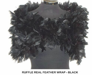 Julie Black Ruffle Feather Wrap