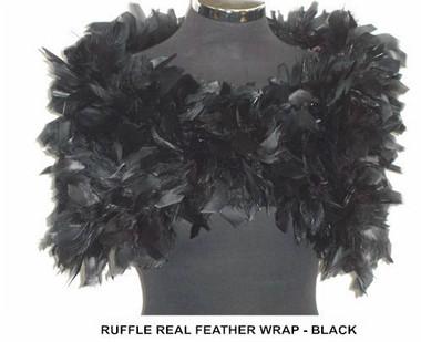 Julie Black Ruffle Feather Wrap