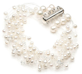 Allesandra floating pearl and crystal bracelet lovely for brides