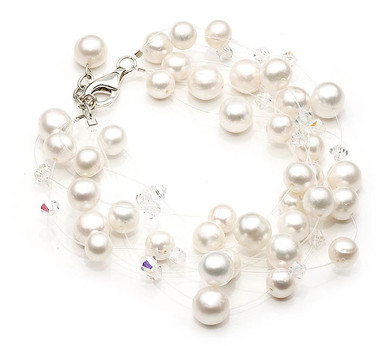 Floating pearl and crystal wedding bracelet