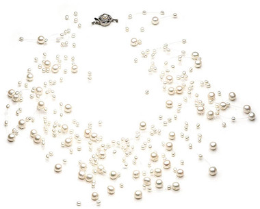 Genevieve floating pearl and crystal necklace