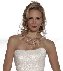 Genevieve freshwater pearl and crystal floating necklace pictured with Sassi Holford's Summer wedding gown