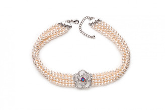 Vintage styled diamante and pearl choker style necklace