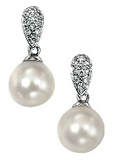 Classic diamond and pearl drop earrings lovely bridal earrings