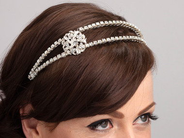 Emelie side-styled bridal headband.