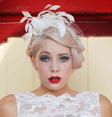 An exquisite vintage inspired feather and birdcage veil side tiara