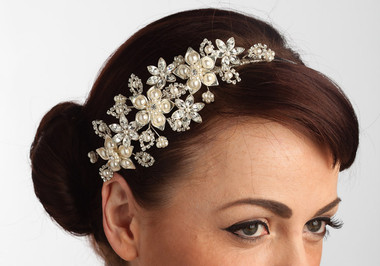 Priscilla exquisite pearl and crystal wedding side styled headband