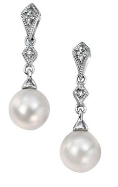 Perla vintage diamond and freshwater pearl drop bridal earrings