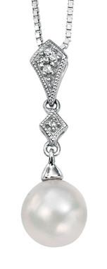 Perla vintage styled diamond and pearl bridal pendant