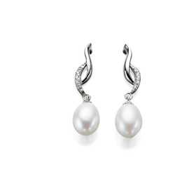 Mae Diamante and Freshwater Pearl Drop Bridal Earrings