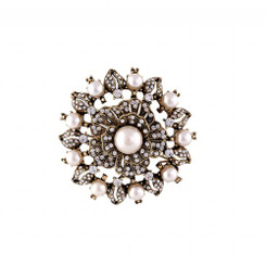 Grazzia vintage inspired gold accent and pearl brooch 4