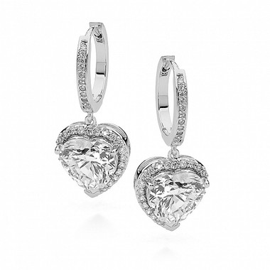 heart cubic zirconia drop earrings