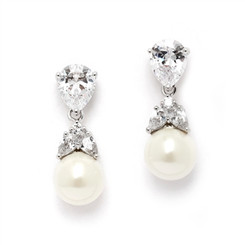 Pearl and cubic zirconia bride or bridesmaid earrings