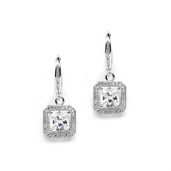 Vintage inspired diamante pave set bridal earrings