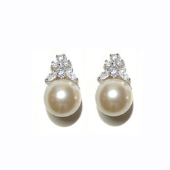 Carlyn art deco inspired pearl and diamante bridal earrings