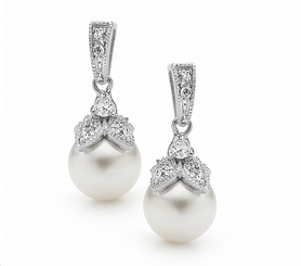 Vintage Inspired pearl wedding earrings