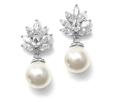 Karoline vintage styled pearl wedding earrings