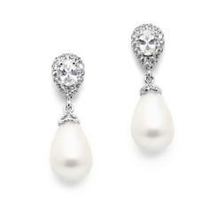 Bridal pearl and diamante pear drop earrings