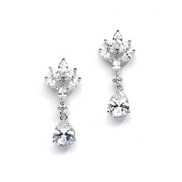 Alexi marquis shaped cubic zirconia wedding earrings