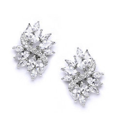 Sassi vintage styled diamante cluster bridal earrings